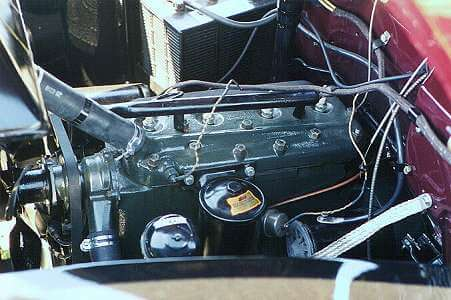 """The """"9N"""" engine in Ron Stauffer's '41 panel truck."""