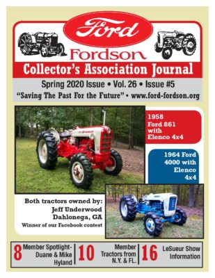 Ford Fordson Collector's Association Spring 2020 Journal Cover
